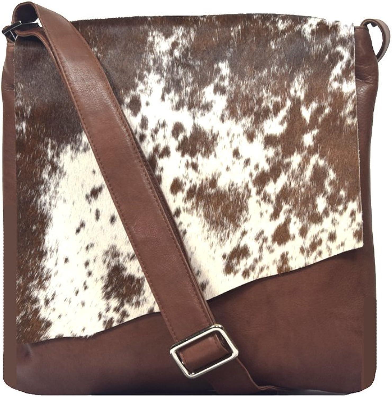'Estella' Designer Cognac and White 100% Leather and Genuine Haircalf Shoulder Handbag