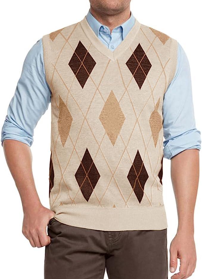 1920s Men's Sweaters, Cardigans, Knitwear MNCEGEER Mens Rhombus Knitwear Vest V Neck Sleeveless Casual V Neck Slim Fit Pullover Knitted Sweater  AT vintagedancer.com