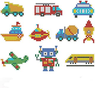 fengminyi 18 Pcs 5D DIY Diamond Painting Kits for Kids and Adult Beginners Handmade DIY Diamond Painting Kits Cute Car Airplane Diamond Mosaics Stickers Gift for Kids for Boys