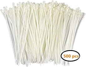 Durable-Ties Nylon Cable Ties Self Locking Zip Ties Strong Cable Tie-Wrap, 6 Inch Wire Ties, Pack of 500 (White)