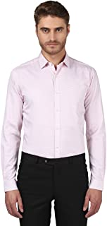Park Avenue Full Sleeve Regular Collar Slim Fit Medium Red Cotton Self Design Shirt for Men