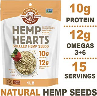 Manitoba Harvest Hemp Hearts Raw Shelled Hemp Seeds, 1lb; with 10g Protein & 12g Omegas per Serving, Non-GMO, Gluten Free - Packaging May Vary