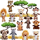 12 Pieces Mini Stuffed Forest Animals Jungle Animal Plush Toys in 4.8 Inch Cute Plush Elephant Lion Giraffe Tiger Plush for Animal Themed Parties Teacher Student Achievement Award (Sitting, Standing)