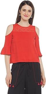 Akkriti By Pantaloons Women's Rayon Tunic Top (205000005872263_Red_X-Large)