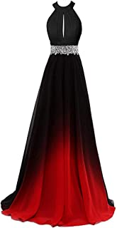 Gradient Prom Dress Formal Evening Gowns Beaded Ombre Chiffon Long Prom Party Dresses