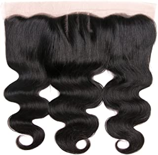 DRESSMAKER 8A Grade Lace Frontal Closure 13x4 Three Part Body Wave Brazilian Human Hair Lace Frontal With Baby Hair Natural Color (16inch, Three Part Body Wave)