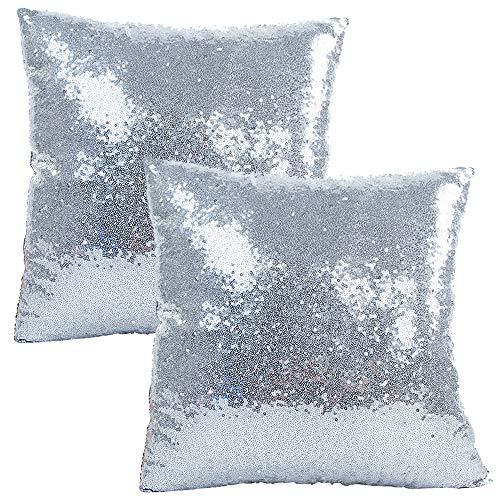 JOTOM Funda de Almohada con Lentejuelas con Brillo de Color sólido, Funda de cojín Cuadrada para sofá, decoración para el hogar, 40x40 cm, Juego de 2 (Plata)