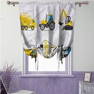 SONGDAYONE Boys Room Roman Curtain Truck Crane Digger Mixer Foldable W42 x L72 inch