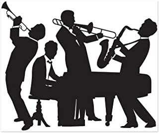 Beistle 52178 Great 20's Jazz Band Insta-Mural, 5' x 6' Party Decorations, Black/White