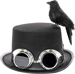 Retro Steampunk Hat with Black Crow, Goggles and Gears DIY Self Made Halloween Cosplay Party Hats Costume Accessories