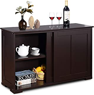Costzon Kitchen Storage Sideboard, Antique Stackable Cabinet for Home Cupboard Buffet Dining Room (Brown with Sliding Door)
