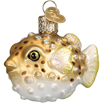 Old World Christmas Fish Collection Glass Blown Ornaments for Christmas Tree Pufferfish
