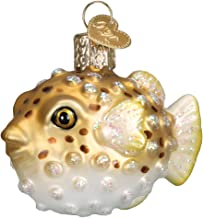 Old World Christmas Glass Blown Ornament with S-Hook and Gift Box, Fish Collection (Pufferfish)
