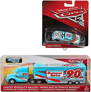 Disney Pixar Cars 3 Ponchy Wipeout's Hauler (Bumper Save) and Disney/Pixar Cars 3 Ponchy Wipeout's (Bumper Save) Die-Cast Car Bundle