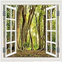 Wkxzz 壁の背景装飾画 カスタム壁画大壁画壁紙窓森林風景の背景壁の装飾壁紙リビングルーム-400X280Cm