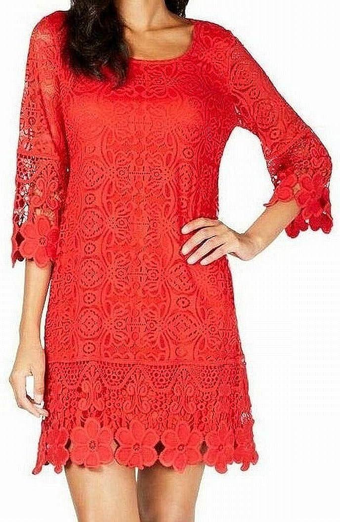 Alfani Women's Floral Lace Crochet Trim 3/4 Sleeve Cocktail Dress