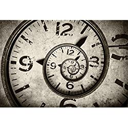 Laeacco Steampunk Theme Backdrop 7x5ft Vinyl Photography Background Twisted Clock Face Surreal Grunge Spiral Clock Nostalgia Style Artistic Novelty Design Child Baby Adult Portrait Shoot