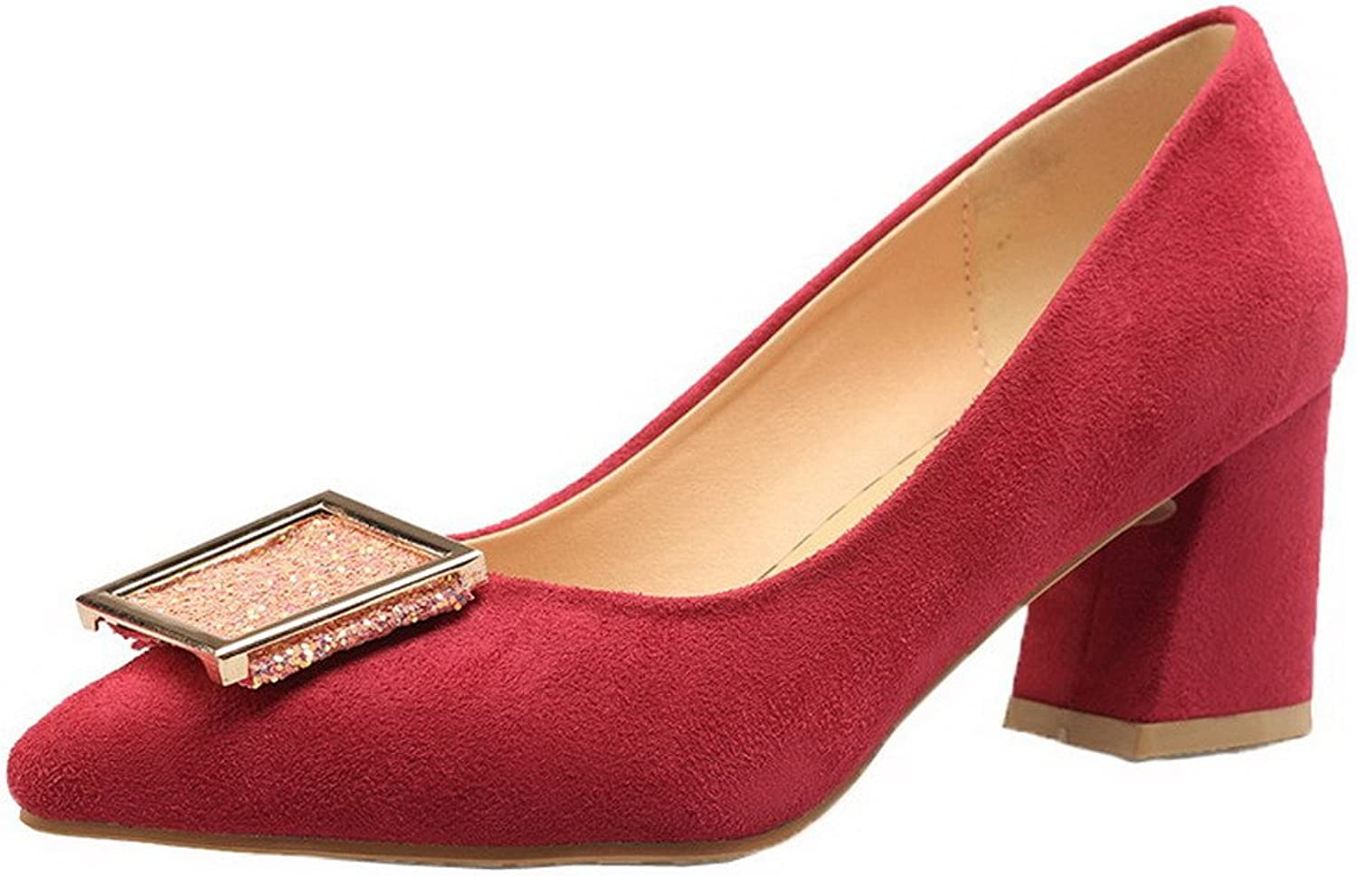 AmoonyFashion Women's Closed-Toe Imitated Suede Solid Kitten-Heels Pumps-shoes
