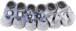3 Pairs Baby Floor Socks Indoor House Cotton Floor Sneakers Cotton Anti-Slip Lace Flower Bow Tie Rubber Toddler Socks for ...