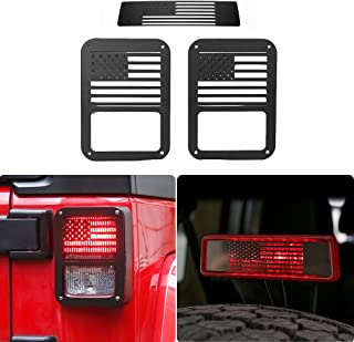 JeCar Metal Tail Light Cover Guards Third Brake Light Cover for 2007-2018 JK Jeep Wrangler Unlimited JKU Sahara Rubicon Sport Willys 2/4 Doors Accessories (USA Flag)