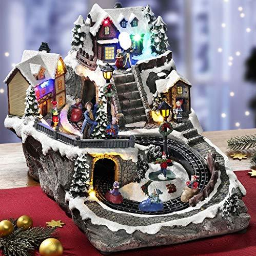 Schwartinsky Weihnachtliche Spieluhr Winterlandschaft mit Beleuchtung Musik und 6 fahrenden Schlitten Weihnachten