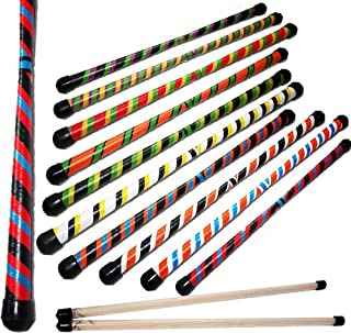 Flames N Games TWISTER Devil Stick Set (3-Color Deco) WOODEN Sticks! Juggling Devil sticks 4 Beginners & Pro's! (Black/Green/Yellow)