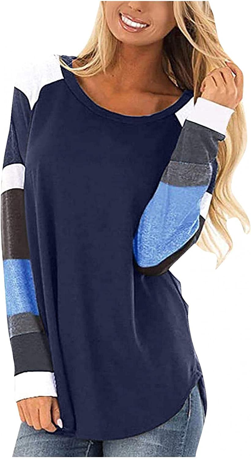 INNOVIERA Womens Long Sleeve Tops for Work,Womens Color Block Round Neck Tunic Tops Basic Solid Color Casual Loose Shirts