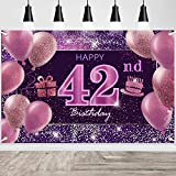IMISI 42nd Birthday Decorations for Girls Happy Birthday Banner Pink Decorations for A Party Birthday Backdrop for Women