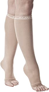 DJMed Leg Skin Protectors – Protective Leg Sleeves, for Sensitive Skin, Help Protect from Tears & Bruising – Pair, Tan (Medium/Regular)