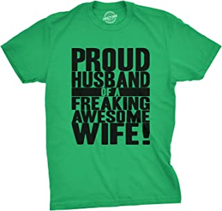 Mens Proud Husband of a Freaking Awesome Wife Funny Valentines Day T Shirt