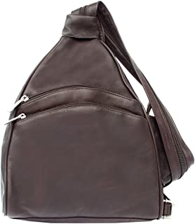 Piel Leather Two-Pocket Sling, Chocolate, One Size