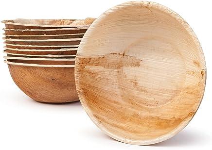BIOZOYG DTW05509 Snackschale/Suppenschale aus Palmblatt, 25 Stück, rund, 425 ml, Ø15 cm, Höhe 5 cm, kompostierbar preisvergleich bei geschirr-verleih.eu