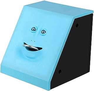 HSTYAIG Face Coin Bank Money Eating Coin Bank Battery Powered Monkey Saving Box (Blue)