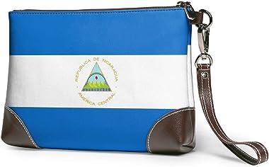 Ahdyr Pochette en cuir pour femmes Sacs à main Pochette Portefeuilles pour téléphone Drapeau du Nicaragua en cuir Petits sacs