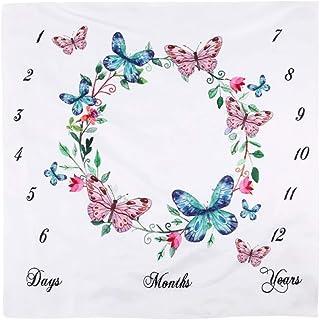 mit monatlichem Meilenstein-Druckmuster Blumenmotiv blume JMITHA Fotohintergrund-Decke f/ür Babyfotos A