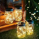 Solarlampen für Außen 4 Stück, 30Leds Lichterkette im Einmachglas Glas Solarlampe Laterne, Balkon Tischleuchte Hängeleuchte Dekoration für Zuhause Party Garten Hochzeit