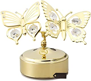 Matashi 24K Gold Plated Music Box with Crystal Studded Double Butterfly Figurine, Best Gift for Valentine's Day, Birthday, Mother's Day, Christmas, Anniversary