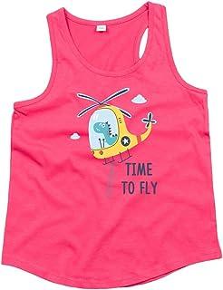 Druckerlebnis24 Camiseta de tirantes unisex para niños y niñas con diseño de helicóptero y dinosaurios.