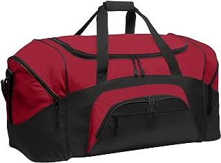 Color Block Sport Zipper Duffel Bag_True Red/Black_OSFA