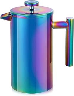 Magicafé French Press Coffee Maker – Stainless Steel Coffee Maker Double Walled French Press Rainbow 34oz/1L