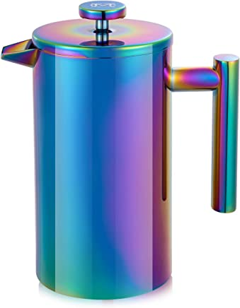 Magicafé French Press Coffee Maker – Stainless Steel Coffee Maker Double Walled French Press Rainbow 34oz/1L