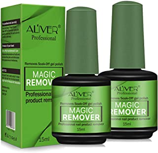 2 Pack Magic Soak Off Gel Nail Polish Remover, Professional Remover Nail Polish Delete Primer Acrylic Clean Degreaser For Nail Art Lacquer, Easily and Quickly(15ml)