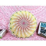 QCWN - Funda de almohada de mandala hippie Mandala para suelo, funda de cojín,...