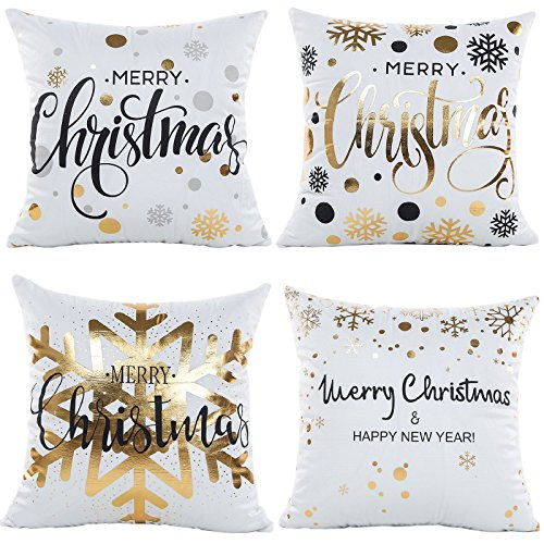 NATURALSHOW Gold Stamping Print Snowflakes Merry Christmas Series Throw Pillow Case Decorative Cushion Cover Pillowcase Square 18in-Set of 4 (1818 in, Pattern 9#)