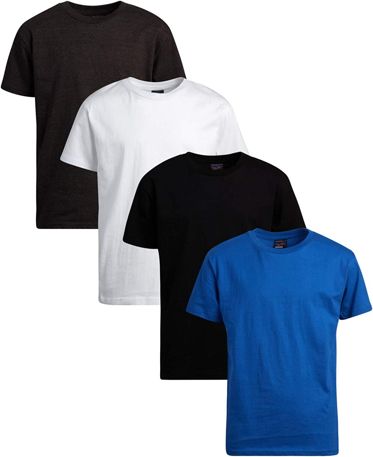 Quad Seven Boys' Solid Short Sleeved Cotton T-Shirts (4 Pack)