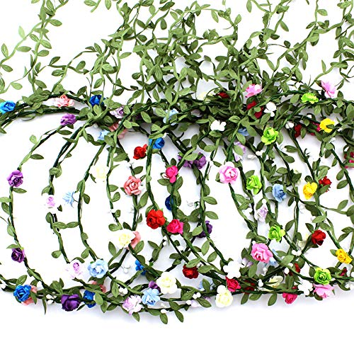 9 Pcs Flower Crown Headband,Hair Floral Wreath Garland Leaf Ribbon,Adjustable Multicolor Boho Halo Headpiece for Women Girls Wedding Festival Holiday Christmas Halloween Party,Seaside Vacation Photo