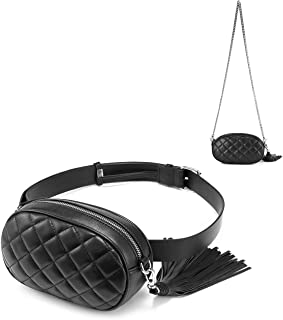 Fanny Pack for Women Waist Bag Fashion Belt Purse Chest Purses Designer Bum Bags with Chain Shoulder Tassel PU Quilted Cute Black