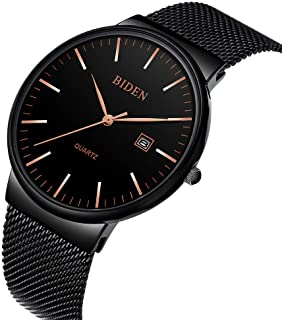 Watch,Men's Fashion Stainless Classic Black Casual Watch With Milanese Mesh Band , Waterproof Casual Analog Quartz Dress Wrist Watch