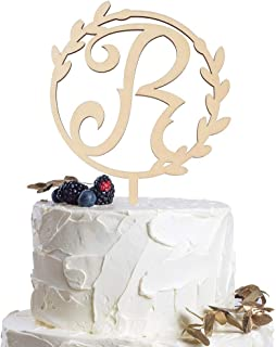 Letter R Personalized Initial Wood Cake Topper Monogram Wedding Anniversary Birthday Vow Reveal Party Decoration Supplies.