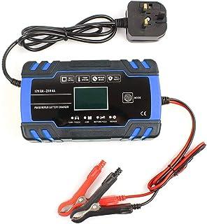 Smart batteriladdare 12V/24V automatisk batteriladdare underhåll för bil motorcykel gräsklippare förseglad blybatteri (blå)